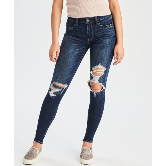 American Eagle Hi Rise Jegging Jeans Super Stretch X Medium Wash New With Tags